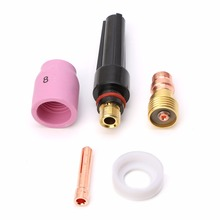 5PCS Tig Welding Torch Stubby Cup Gas Collet Body Lens Kit