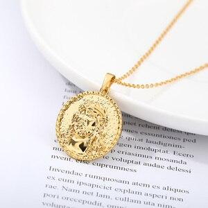 Edelstahl Gold Kette Porträt Anhänger Halskette Für Frauen Kopf Münze Choker Kragen Halsketten Mode Schmuck 2020