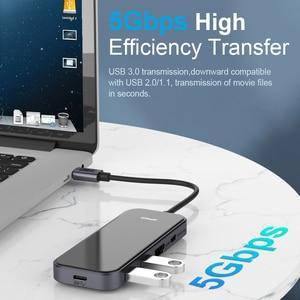 Image 2 - QGeeM USB C Hub for Macbook Pro متعدد USB 3.1 Hub Type C 3.0 Hub HDMI PD محول for iPad Pro OTG الفاصل شحن USB C Dock
