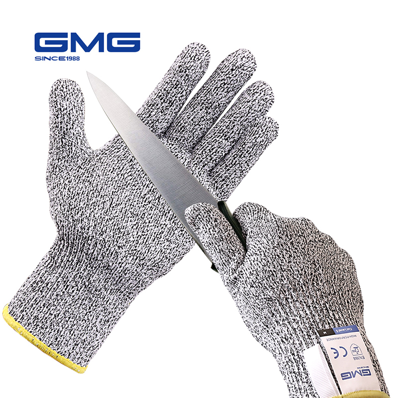 Cut Resistant Gloves GMG Grey Black HPPE EN388 Level 5 ANSI Work Safety Gloves Anti Cut Gloves Cut Proof Protective