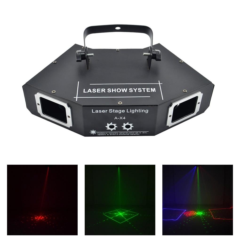 AUCD DMX 4 Lens Red Green Blue RGB Full Color Beam Network Pattern Laser Light Home