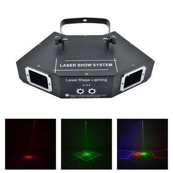 AUCD DMX 4 Lens Red Green Blue RGB Full Color Beam Network Pattern Laser Light Home Party DJ KTV Projector Stage Lighting A-X4