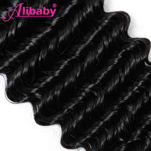 Image 5 - Alibaby Deep Wave Bundles 4 Pcs/Lot Brazilian Hair Weave Bundles Natural Color 100% Human Hair Weave No Remy Hair Extensions