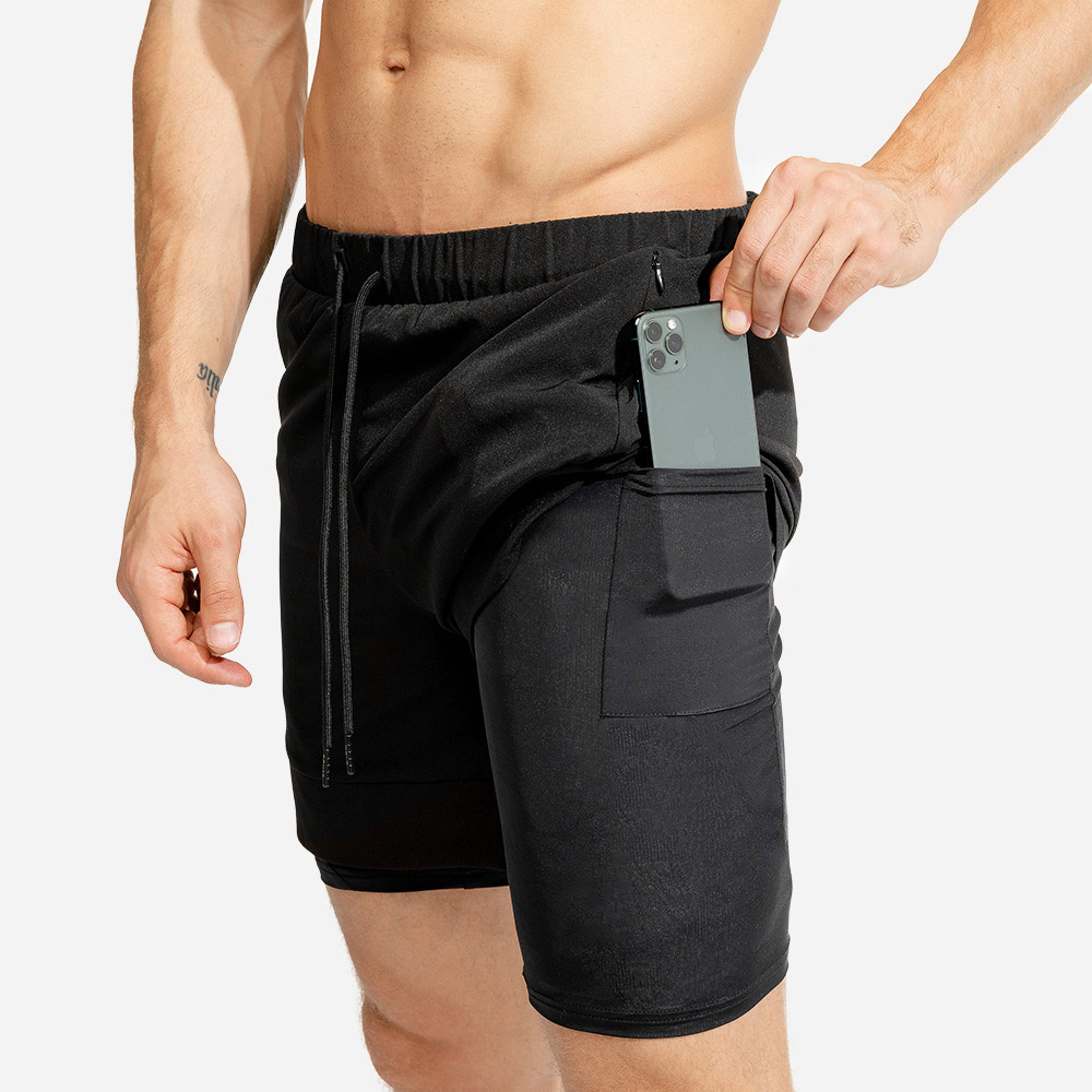 2 In 1 Shorts Men Summer Gym Sports Shorts Men 2020 Causal Black/Khaki Compression Beach Shorts Quick Dry Workout Masculino