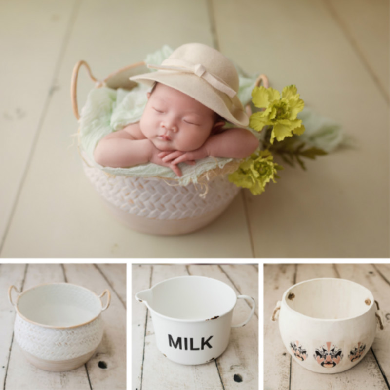 Newborn Photography Props Wooden Posing Props Metal Creative Cup Shape Container Infant Photo Shoot Props For Studio Novel Props