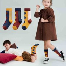 3pairs Fashion Dot Stripe Cotton Socks Kids Long Girls Boys Warm Funny  Children 3-12T Calcetines Autumn Winter