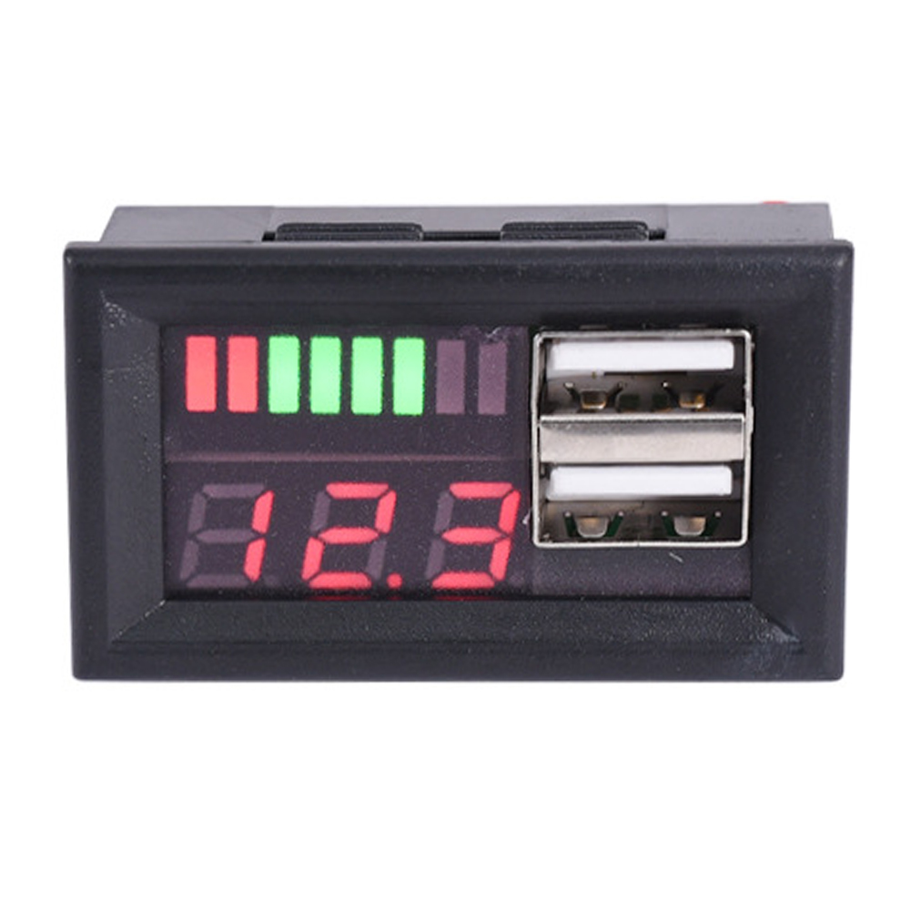<font><b>12V</b></font> Energy Saving <font><b>Dual</b></font> <font><b>USB</b></font> Auto <font><b>Voltmeter</b></font> Niedrigen Wärme Motorrad Spannung Batterie Panel Meter Durable Digitale Display Professionelle image