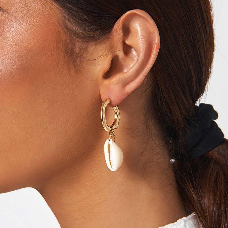 AENSOA, elegantes pendientes de gota de aleación con forma de concha, ZA, bonitos y elegantes pendientes colgantes para mujer, regalos de boda, joyería Irregular