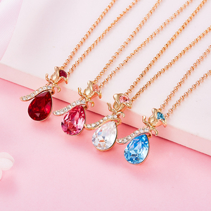 Image 3 - Cdyle Boho Jewelry Gold Necklace Chain Pink Crystal Rose Flower Pendant Necklace with Zircon for Female Wedding Anniversary Gift