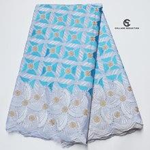 Cs 5 jardas céu azul e branco africano 100% algodão tecido de renda mais recente swiss voile renda na suíça com pedras para o casamento