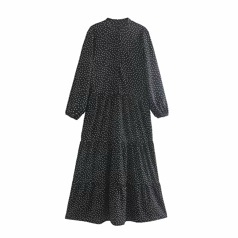 Women Vintage Polka Dot Printing Casual Loose Long Dress Elegant Ladies Chic Autumn Long Sleeve Pleats Maxi Party Dresses DS2814