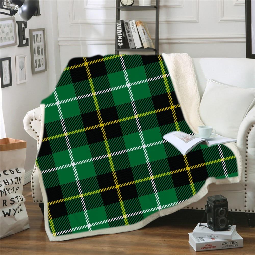 Геометрический дизайн, одеяло с капюшоном, 3d принт, цветное клетчатое шерстяное одеяло для взрослых, зимнее портативное теплое одеяло - 3