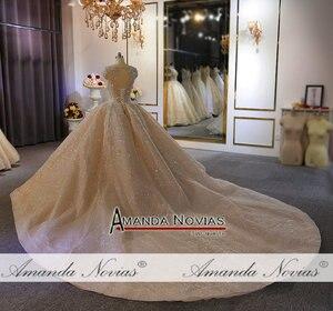 Image 5 - فستان زفاف فاخر ثقيل مطرز بالخرز الشمبانيا دبي فستان الزفاف 2020 صورة عمل حقيقية