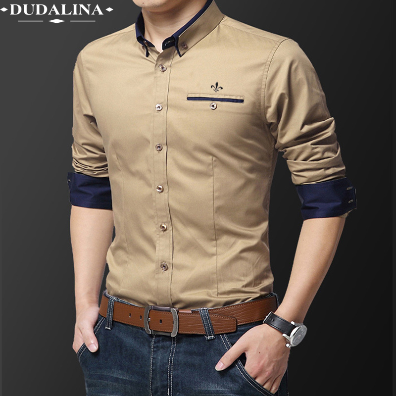 Pocket Fashion Blusa Camisa Social Masculina Dudalina Long Sleeve Slim Fit Shirt Men Floral Clothes Pullover White Male Cold