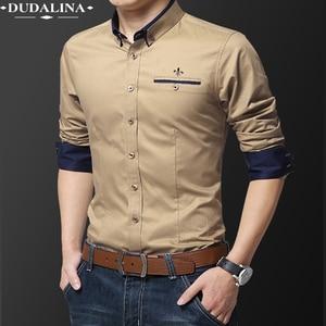 Pocket Fashion Blusa Camisa Social Masculina Dudalina Long Sleeve Slim Fit Shirt Men Floral Clothes Pullover White Male Cold(China)