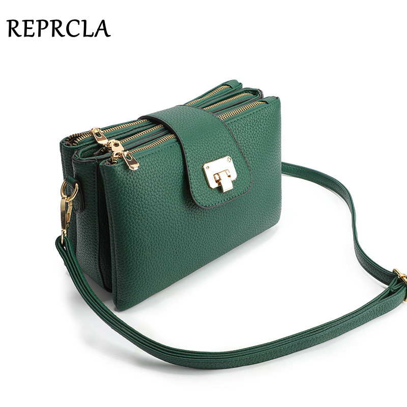 New Compartment Shoulder Bag Ladies Handbag Litchi PU Leather Crossbody Bags For Women Messenger Bags Sac A Main Femme