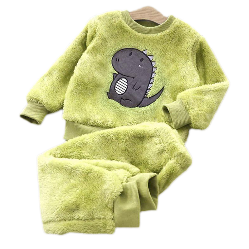 2020 Winter Kids Pajamas Sets Warm Pyjamas Boys Girls Cartoons Sleepwear Flannel Fleece Baby Toddler Child Home Clothes Suit1-6Y