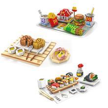цена на hot LegoINGlys creators McDonald hamburger French fries Cola Sushi mini micro diamond building blocks food bricks toys for gifts