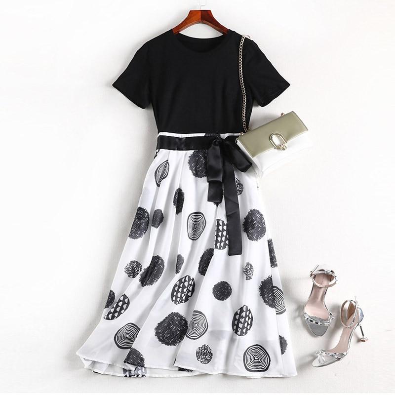 Lan Mu Square Chubby Size Dress 2019 Summer Slimming Large GIRL'S Chiffon Plus-sized WOMEN'S Dress 10475