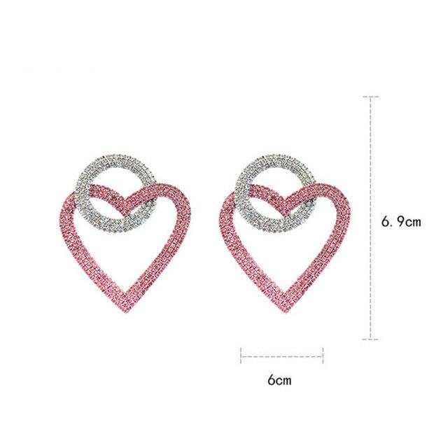 fyuan зеленые розовые серьги в форме сердца с кристаллами для фотография