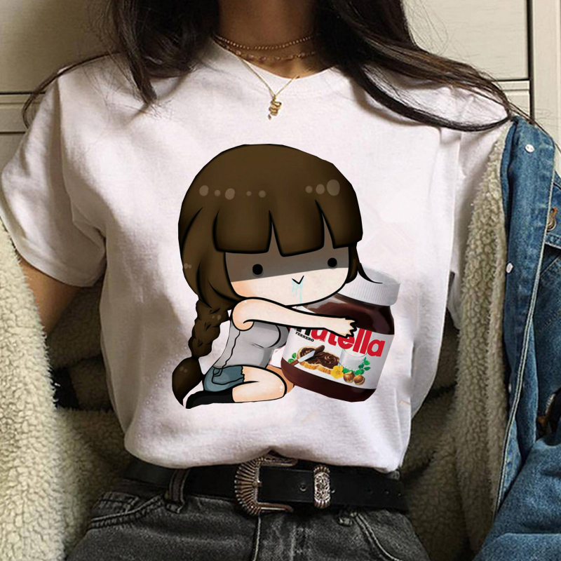 Maycaur New Lovely Nutella Printed Women T-shirts Harajuku Cartoon Print Shirts Female Short Sleeve O-neck Top Tees Funny Tshirt