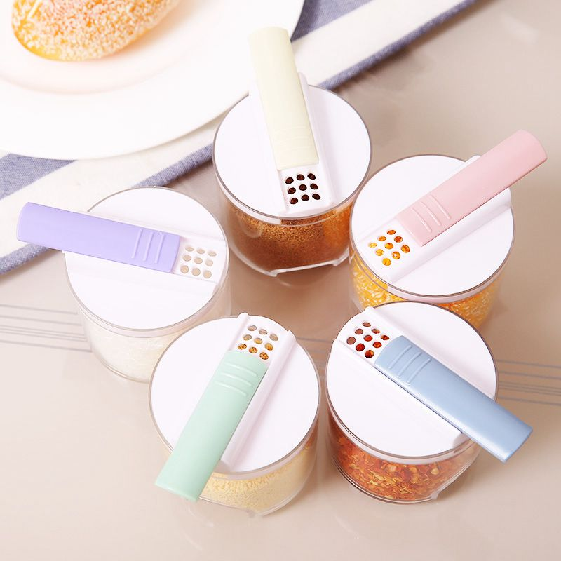 5pcs Creative Transparent Stackable Seasoning Cans Kitchen Spice Rack Condiment Bottles Pepper Shakers Box