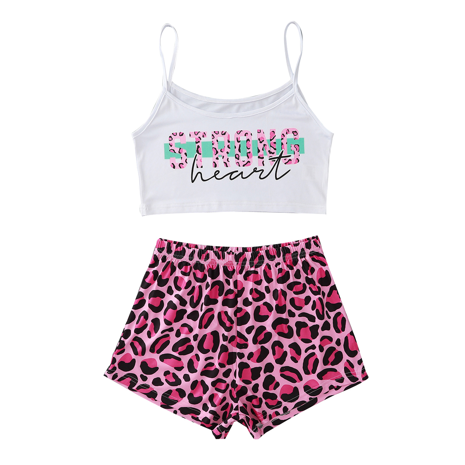 Women's Camisole or T-shirt Shorts Set Unique Letter Pattern Exposed Navel Top and Print High Waist Shorts