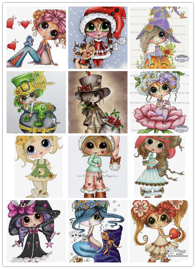 1778--1789  Color Girl Series  Clear Stamps And Metal Cutting Dies Please Contact Me For Photos