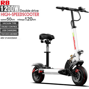 Kick Scooter Electric Two Wheels Electric Scooters 10 inch 48V 600W*2 Max Range 120KM Adults Folding Electric Scooter With Seat