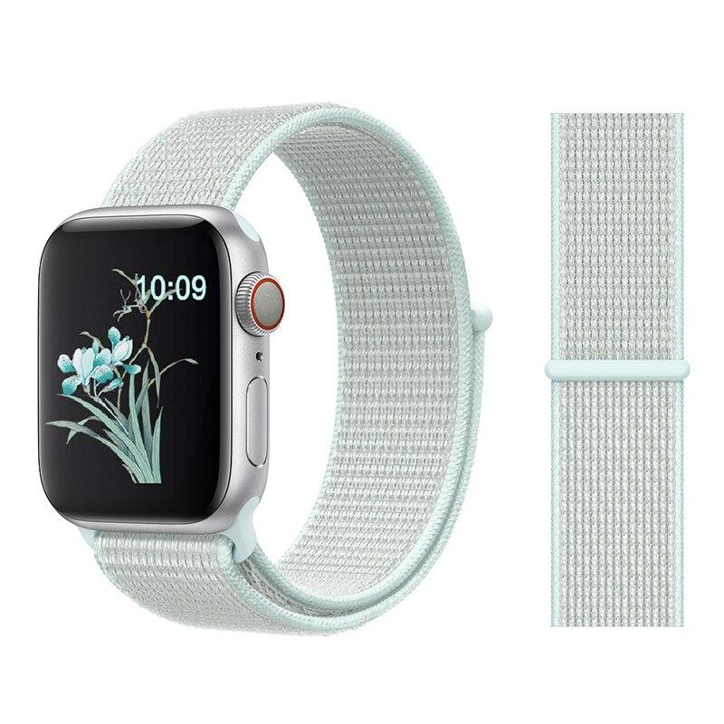 Для наручных часов Apple Watch, версии 3/2/1 38 мм 42 мм нейлон мягкий дышащий нейлон для наручных часов iWatch, сменный ремешок спортивный бесшовный series4/5 40 мм 44 мм - Цвет ремешка: Color37 TEAL TINT