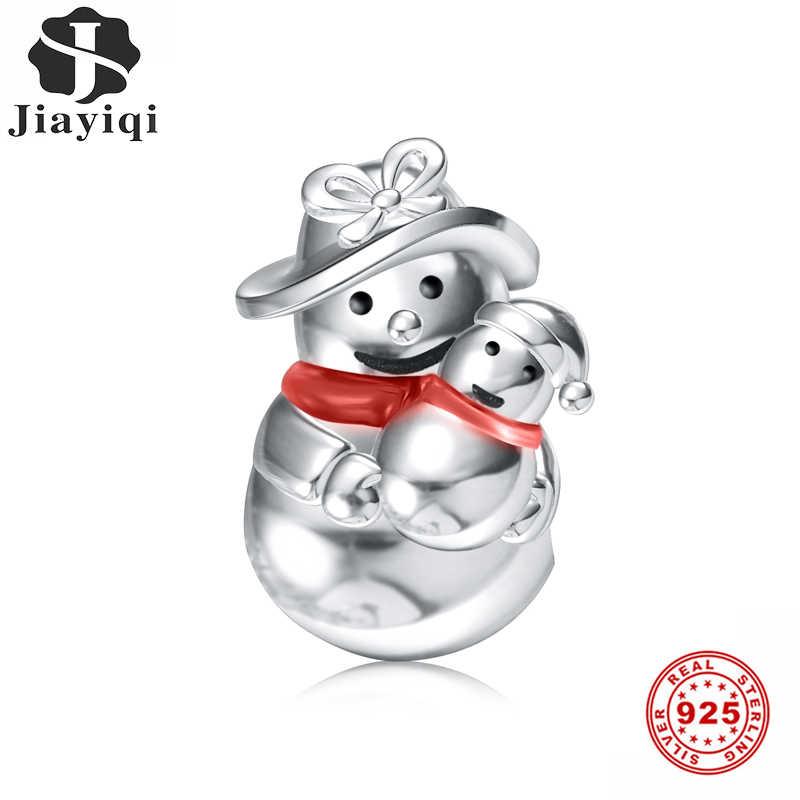 Jiayiqi Рождественские Подвески в виде снеговика для матери и ребенка, 925 пробы серебряные капающие масляные бусины, подходят для женщин, браслет Пандора, ювелирные изделия своими руками