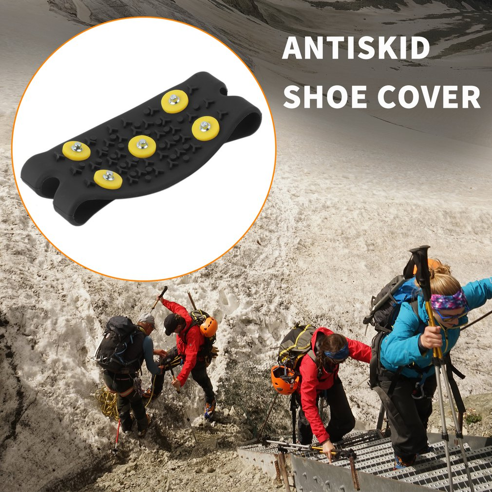 1pair Delicate Snow Ice Climbing Anti Slip Spikes Grips Crampon Cleats 5-Stud Shoes Cover Fasten Overshoes to Your Shoes