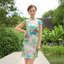 Cheongsam Dress Qipao Short Sleeve Traditional Chinese Women S-XXL Summer Party Imitation Silk