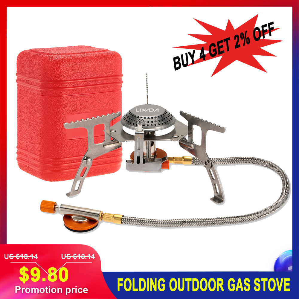 3000W Portable Outdoor Camping Hiking Gas Stove Folding Cooking Burner Bag