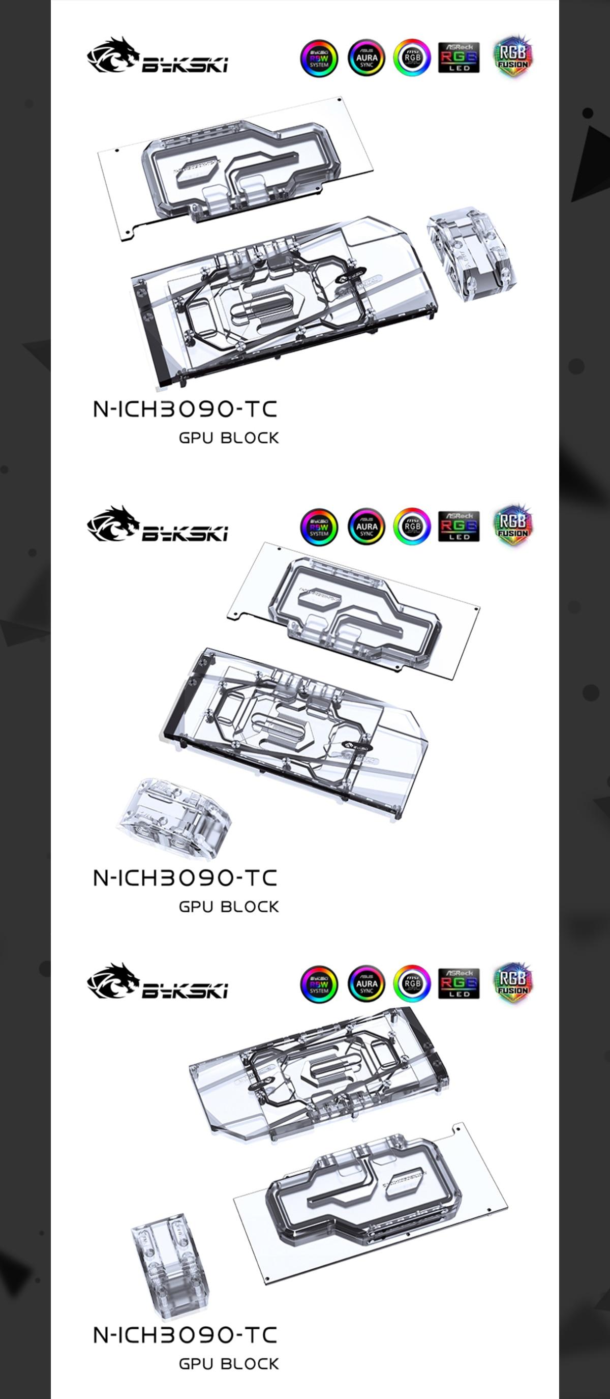 Bykski GPU Block With Active Waterway Backplane Cooler For Inno3D RTX 3090 3080 iChill / Gaming X3 / Twin X2 N-ICH3090-TC