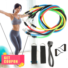 11pcs Fitness Pull Rope Resistance Bands Latex Strength Gym Equipment Home Elastic Exercises Body Fitness Workout Equipment(China)