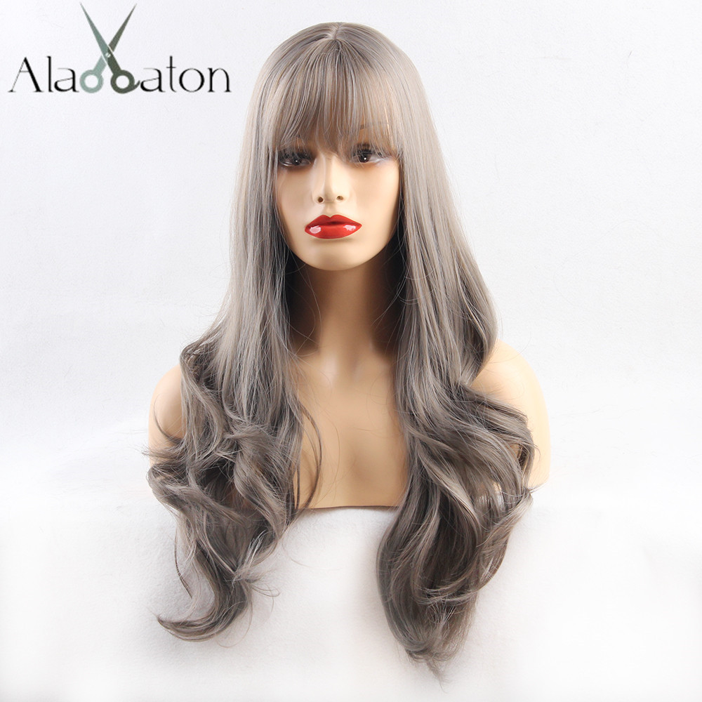 ALAN EATON Long Ombre Brown Ash High Density Temperature Synthetic Wigs For Women Glueless Wavy Cosplay Hair Wig With Bangs