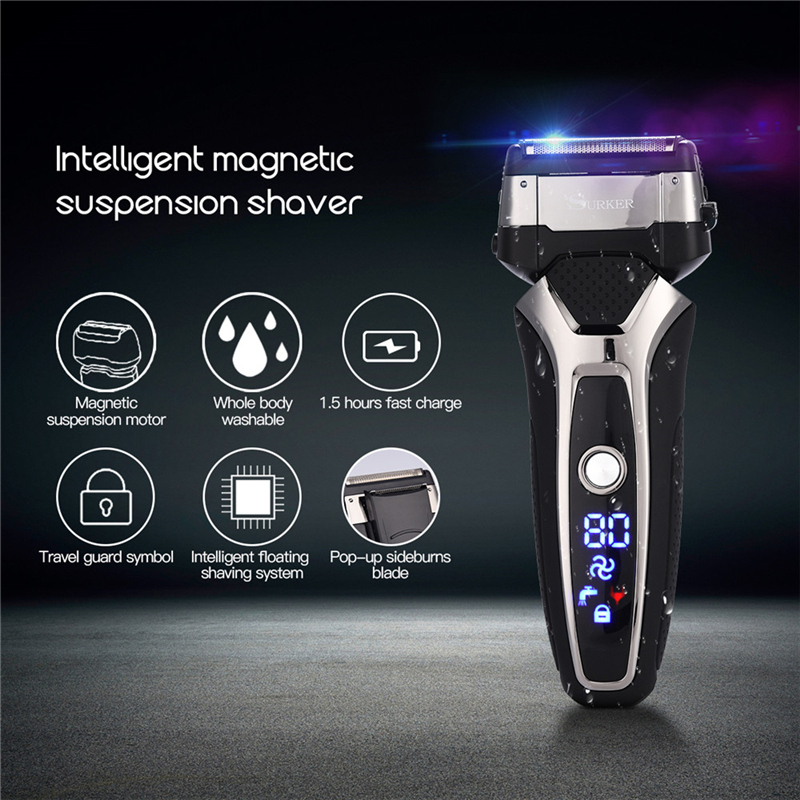 Professional 3 Blade Electric Shaver Floating Shave Rechargeable Waterproof Razor Men with LED Display Beard Trimmer Machine