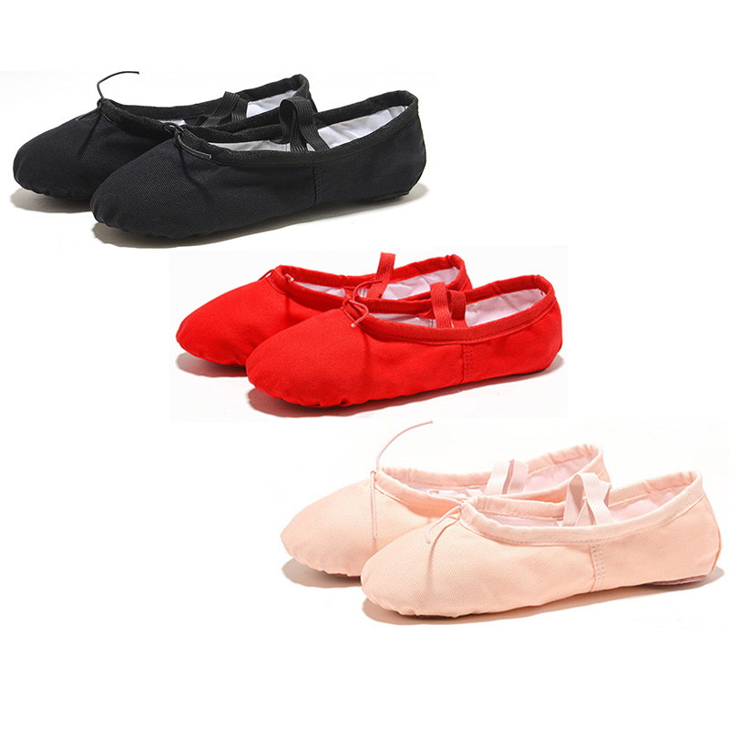Black Red Pink White Canvas Flat Yoga Teacher Gymnastic Ballet Dance Shoes Kids Ballet for Girls Women