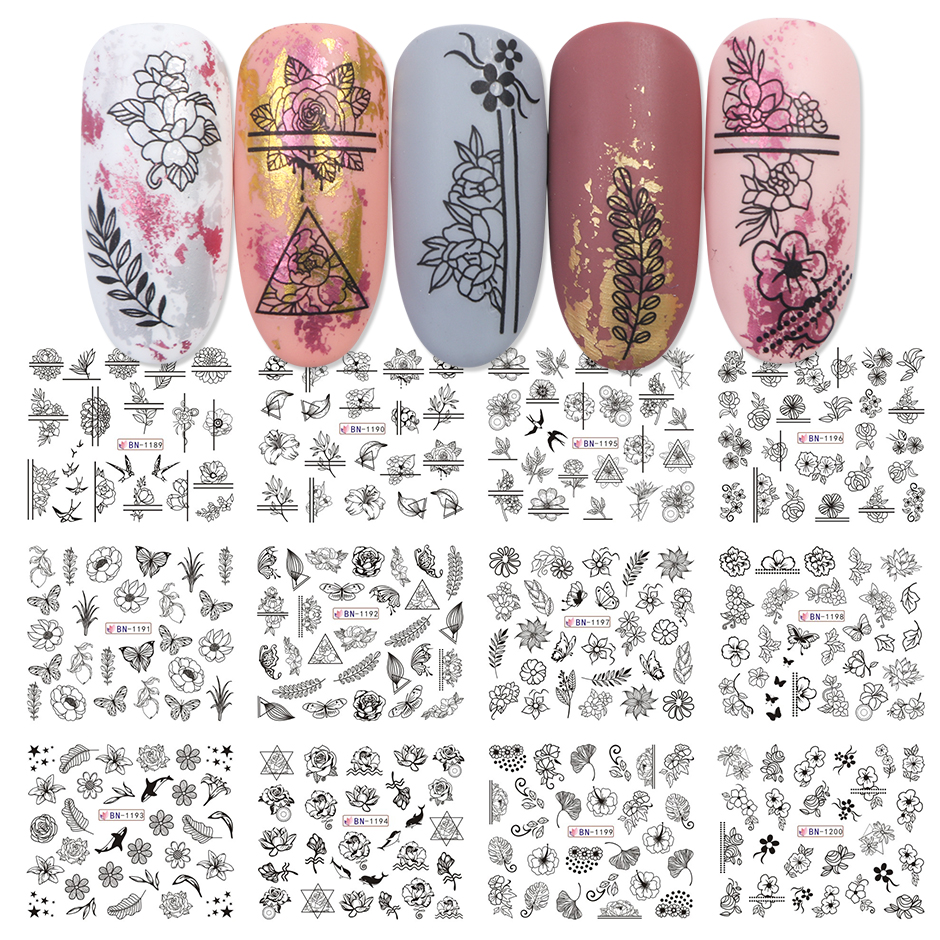 12pcs Valentines Manicure Love Letter Flower Sliders for Nails Inscriptions Nail Art Decoration Water Sticker Tips GLBN1489-1500 7