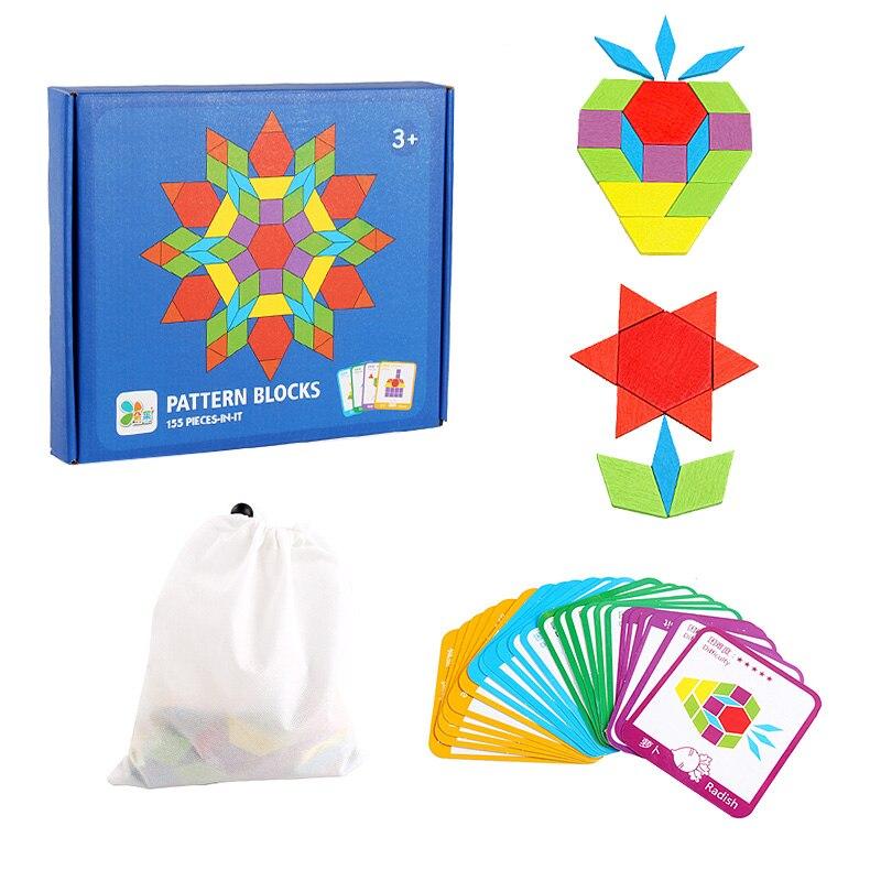 Quebra-cabeça para crianças crianças tangram quebra-cabeça de madeira montessori brinquedos educativos para crianças aprendizagem brinquedos 155 pçs