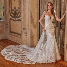 2020 מבריק בת ים חתונת שמלות עם נשלף רכבת Vestido דה Noiva Sereia סקסי ללא משענת אפליקציות ואגלי קריסטל שמלות