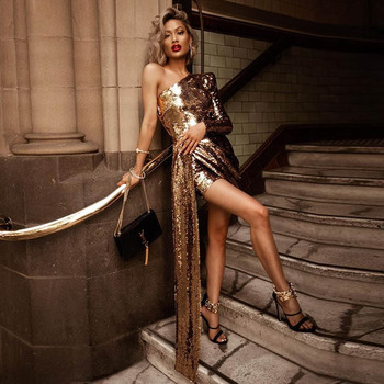New Lady Gold Sequined Dress Chic Sexy One Shoulder Long Sleeve Drape Wrap Vestidos Gorgeous Club Celebrity Party Dresses