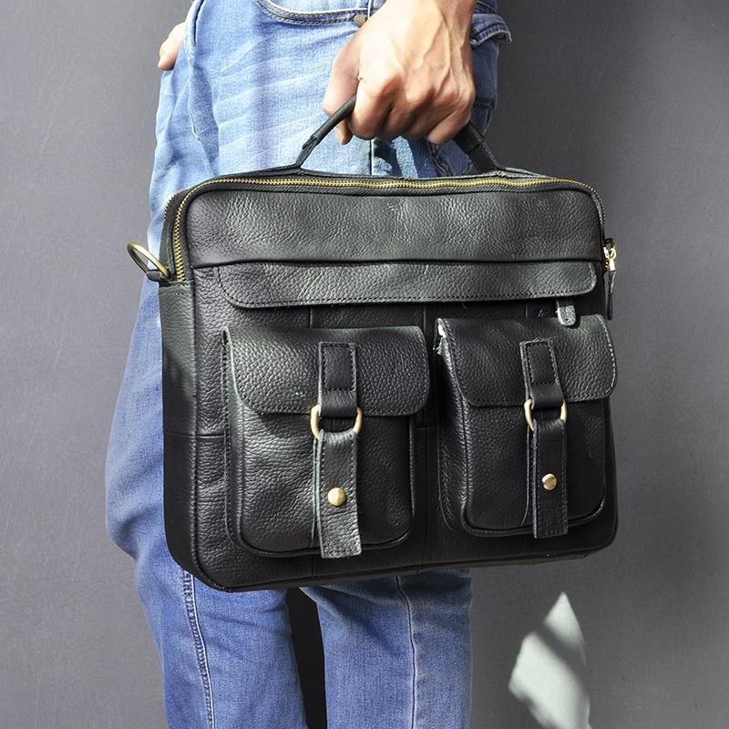 """H39b0c6881b6d4bbcaa07491f85e3a257f Le'aokuu Men Real Leather Antique Style Coffee Briefcase Business 13"""" Laptop Cases Attache Messenger Bags Portfolio B207-d"""