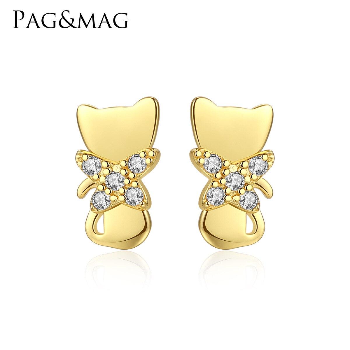 PAG & MAG S925 plaqué argent K or incrusté de zirconium Mini boucles d'oreilles japonaises et coréennes