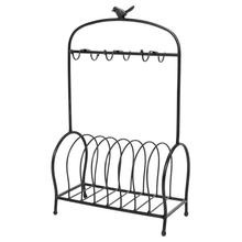 Modern Bird Cage Shape Table Meal Tray Holder High Quality Iron Frame Table Meal Tray Holder 6 Hooks