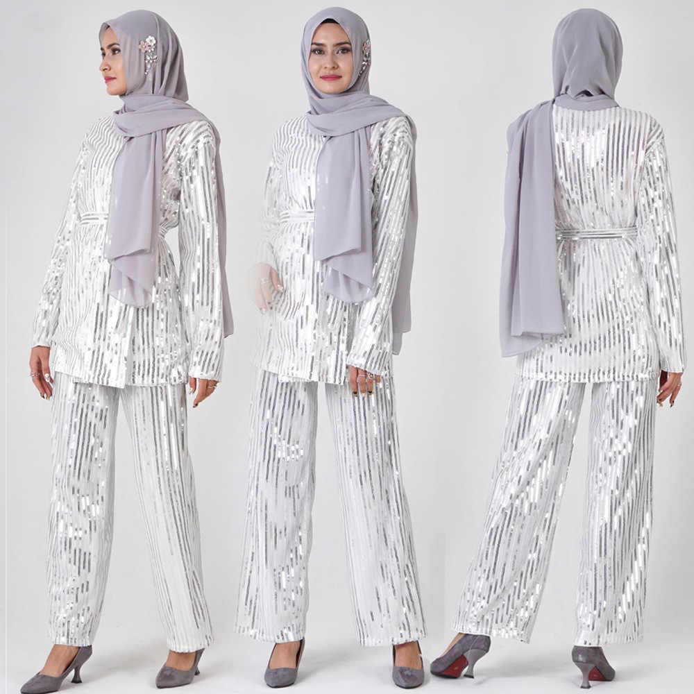 Мусульманское Макси костюм вышивка блестки с длинным рукавом Кардиган Туника Ближний Восток Рамадан Арабский исламский кафтан комплект из двух предметов топ брюки