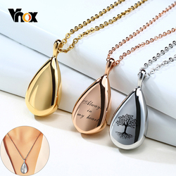 Vnox Classic Waterdrop Pendant for Women Free Personalized Elegant Lady Necklace Openable Cremation Urn Keepsake Jewelry