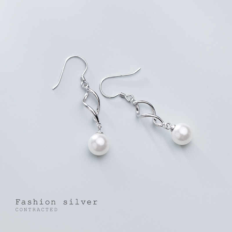 INALIS S925 silver earrings female Japanese and Korean style fashion simple spiral temperament synthetic bead earrings