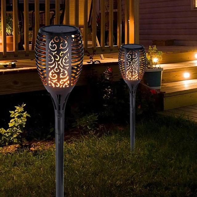 Güneş alev lambası yumuşak ışık kontrolü dans alev tasarım açık su geçirmez bahçe Torch lambası avlu bahçe balkon